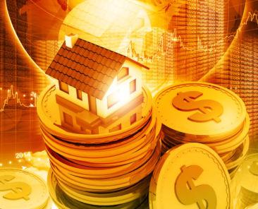 Digital illustration of house on money stack
